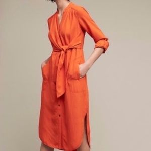 Anthrolpologie Maeve Orange Shirt Dress